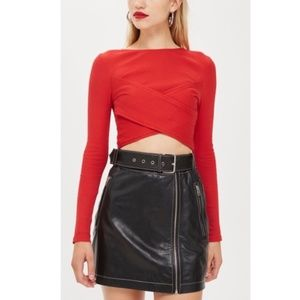 Topshop red ribbed crossover long sleeve crop top